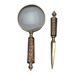 AA Importing - Magnifying Glass & Letter Opener Set - This set will pair beautifully with leather and wood desk accessories. Resin handles on the classic magnifying glass and letter opener feature a wood-like grain with decorative carvings. Brass finish accents add a traditional look that's always a professional touch. Set includes magnifying glass and letter opener. Brass finish metal with medium brown wood-like resin handles with carved design. Magnifier: 7 in. L. Opener: 8.5 in. L