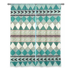 """DiaNoche Designs - Window Curtains Lined by Nika Martinez - Mint Native Forest - Purchasing window curtains just got easier and better! Create a designer look to any of your living spaces with our decorative and unique """"Lined Window Curtains."""" Perfect for the living room, dining room or bedroom, these artistic curtains are an easy and inexpensive way to add color and style when decorating your home.  This is a woven poly material that filters outside light and creates a privacy barrier.  Each package includes two easy-to-hang, 3 inch diameter pole-pocket curtain panels.  The width listed is the total measurement of the two panels.  Curtain rod sold separately. Easy care, machine wash cold, tumble dry low, iron low if needed.  Printed in the USA."""