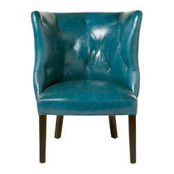 Kathy Kuo Home - Goodman Hollywood Regency Feather Down Teal Blue Leather Accent Chair - Sleek, sexy and slightly retro, this tufted back chair evokes the heady glamour of mid century style a la Mad Men.  The high, curved back paired with distinct tufting creates a sense of luxurious intimacy and gentle enclosure.  Upholstered in a top grain leather, this chair can also be covered in whatever leather you choose. The possibilities are endless and the guarantee on the frame is for life.
