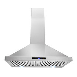 "AKDY - AKDY AG-ZBI30S Euro Stainless Steel Wall Mount Range Hood, 30"" - This 30 in. wall mount range hood not only provides excellent performance, but looks great as well. It features a powerful 760-CFM motor and has three fan-speed settings and 6 in. round duct to work perfectly with your needs. The dishwasher-safe baffle filter is a breeze to clean up, and optional recirculating and chimney extension kits are available."