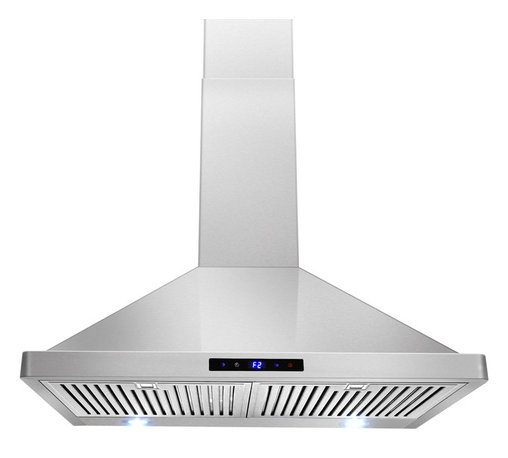 """AKDY - AKDY AG-ZBI30S Euro Stainless Steel Wall Mount Range Hood, 30"""" - This 30 in. wall mount range hood not only provides excellent performance, but looks great as well. It features a powerful 760-CFM motor and has three fan-speed settings and 6 in. round duct to work perfectly with your needs. The dishwasher-safe baffle filter is a breeze to clean up, and optional recirculating and chimney extension kits are available."""