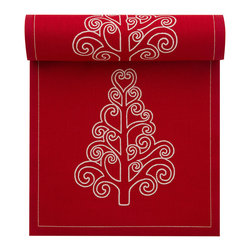 MYdrap - Holiday Printed Luncheon Napkin, Red, Tree - - MYdrap Luncheon Napkins on a Roll feature a festive printed holiday design.