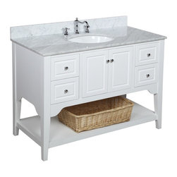 Kitchen Bath Collection - Washington 48-in Bath Vanity (Carrara/White) - This bathroom vanity set by Kitchen Bath Collection includes a white cabinet with soft close drawers and self-closing door hinges, Italian Carrara marble countertop, single undermount ceramic sink, pop-up drain, and P-trap. Order now and we will include the pictured three-hole faucet and a matching backsplash as a free gift! All vanities come fully assembled by the manufacturer, with countertop & sink pre-installed.