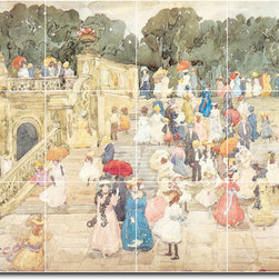 Picture-Tiles, LLC - The Mall Central Park Tile Mural By Maurice Prendergast - * MURAL SIZE: 36x48 inch tile mural using (12) 12x12 ceramic tiles-satin finish.