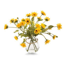 Indian Summer Botanical - A round seeded glass vase with a casual rope handle holds a lush spray of bright sunflowers in this lovely faux-floral accent, the Indian Summer Botanical.  With the handful of stems cut so that some droop nearly to the ground in an exuberant spray, this arrangement looks strikingly warm and dramatic on a round bistro table or before an entryway mirror.