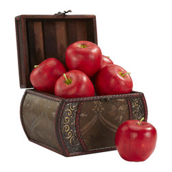 """Nearly Natural - Faux Apple (Set of 6) - Richly colored and designed, these """"never spoil"""" apples are a great addition anywhere, from the kitchen to a great table decoration. Place a few around your centerpiece, and leave one out as an invitation for guests to examine the rich subtle apple red colors and varied greenery of the stems. Lasts forever with no need to worry about spoilage (or a friendly worm!). Height: 3.5 in; Width: 3 in; Depth: 3 in."""