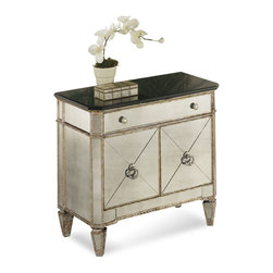 Bassett Mirror - Borghese Small Mirrored Chest - Handworked and beveled antique mirror over veneers and hardwood solids and antique silver finish. All mirror edges are encapsulated in a wood frame. Measures: 30 in. W x 17 in. D x 29 in. H. Part of the Borghese Collection.