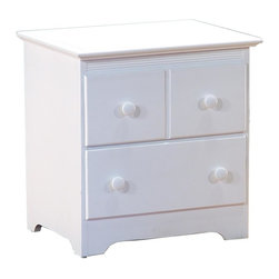 Atlantic Furniture - Windsor 2 Drawer Nightstand in White Finish - 2 Drawers. Made of solid hardwood construction. Metal drawer glides on drawers. dovetail drawer joinery. No assembly required. 22.25 in. W x 17.5 in. D x 22.88 in. HThe Windsor 2 Drawer Nightstand is a welcome addition to any of Atlantic Furniture's platform beds, youth bunk beds or convertible cribs.