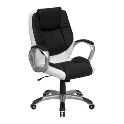 Flash Furniture - Mid Back Leather Executive Swivel Office Chai - Black leather seat and back upholstery. Double padded seat and back. Tilt control mechanism. Pneumatic seat height adjustment. Padded titanium finished nylon loop arms. Heavy duty titanium nylon base with black end caps. Dual wheel casters. Meets or exceeds ANSI/BIFMA standards. Supplier warranty: Our products have a 2 year warranty for parts. This warrants against defects in manufacturing. If the products are used excessively (more than 8 hours/day), and have excessive weight (over 225 lbs.) applied, the warranty is void. New parts will be sent out, or the item will be replaced at our discretion. Made from foam, leather, nylon and steel. Seat: 20 in. W x 20 in. D x 17.75 - 21.25 in. H. Back: 21 in. W x 23.75 in. H. Arm height from floor: 26.75 - 30 in.. Arm height from seat: 8.5 in.. Weight capacity: 250 lbs.. Overall: 27.5 in. W x 27.5 in. D x 39.5 - 42.5 in. H (40.55 lbs.)