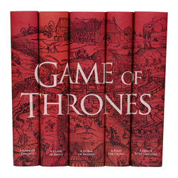 Juniper Books - Game of Thrones Set - Our Game of Thrones set features all five books in the series by George R.R. Martin wrapped in custom printed book jackets featuring an intricate medieval engraving rich in intrigue and intensity. Includes: A Game of Thrones, A Clash of Kings, A Storm of Swords, A Feast for Crows, and A Dance with Dragons. All books are brand new from the publisher, Bantam, with jackets designed and printed by Juniper Books on tear and water resistant paper.