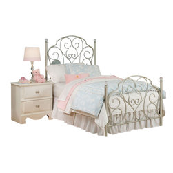 Standard Furniture - Standard Furniture Spring Rose Metal Kids Bed in White - Full - Spring Rose Features a traditional look, inspired by classic European Victorian design. Wood products with simulated wood grain laminates. Group may contain some plastic parts. French dovetail. Roller side drawer guides. Dust proofing underneath protects items in drawers from up drafting dust. Clear colored knobs with fancy filigreed pattern back plates in a silver color finish. White pearlescent color finish creates lasting, attractive and easy-to-clean surfaces. Surfaces clean easily with a soft cloth.
