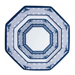 "The Enchanted Home - Chinoiserie Melamine dinner octagonal dinner plate - Fabulous dishwasher safe melamine plate. Doesn't get better, prettier or more stylish than this! Gorgeous chinoiserie blue and white melamine dishwasher safe octagonal plate. Just spectacular! Measures 11"".  Has coordinating salad plate, bowl and large serving plate/bowl."