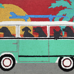 """Trans-Ocean - Frontporch Beach Trip Mat, Turquoise, 24""""x36"""" - Richly blended colors add vitality and sophistication to playful novelty designs. Lightweight loosely tufted Indoor Outdoor rugs made of synthetic materials in China and UV stabilized to resist fading. These whimsical rugs are sure to liven up any indoor or outdoor space, and their easy care and durability make them ideal for kitchens, bathrooms, and porches. Made in China."""