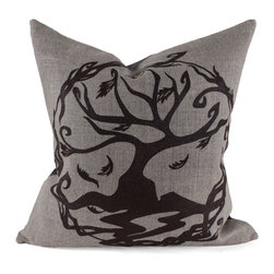 Pfeifer Studio - Celtic Tree Of Life Pillow - A powerful symbol of balance and harmony, the image of the Celtic Tree of Life brings serenity and relaxation into your living room in the form of a pillow. Hand painted onto natural linen with an espresso leather back, a soft down fill and a hidden zipper, this cushion is a harmonious example of plush comfort and enchanting design.