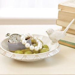"Bird Ceramic Jewelry Dish, White - Store watches, jewelry or change in the birdbath, and rings on the sparrow's tail.9"" wide x 7"" deep x 4"" highCrafted from ceramic with a white glaze.Tiny bird prints encircle the rim of the dish.Catalog / Internet only."