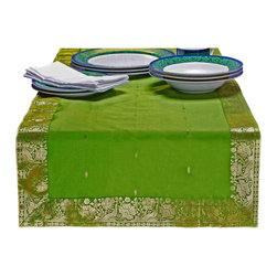 Indian Selections - Hand Crafted Forest Green Table Runner, 14 X 84 Inches - Fabric: Poly Art Silk Sari fabric