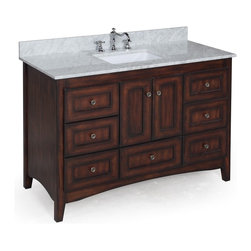 Kitchen Bath Collection - Abbey 48-in Bath Vanity (Carrara/Brown) - This bathroom vanity set by Kitchen Bath Collection includes a brown Shaker-style cabinet with soft close drawers and self-closing door hinges, Italian Carrara marble countertop, single undermount ceramic sink, pop-up drain, and P-trap. Order now and we will include the pictured three-hole faucet and a matching backsplash as a free gift! All vanities come fully assembled by the manufacturer, with countertop & sink pre-installed.