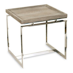 Brownstone Furniture Pierce End Table - The Pierce, a collection of tables that blend the refinement of exceptional design with a tasteful combination of fine materials. Richly grained tray style oak tops rest above magnificent stainless steel bases.