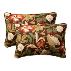 Pillow Perfect - Decorative Brown/Green Tropical Toss Pillow Rectangle  Set of Two - - Brown/Green  - 100% Polyester  - 100% Virgin Recycled Polyester Fill  - Self-Cord Edge  - Fade Resistant Mildew Resistant UV Protection Water Resistant Weather Resistant  - Made in USA Pillow Perfect - 387017
