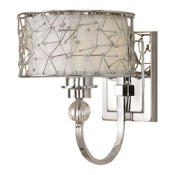 Uttermost Brandon 1 Light Nickel Plated Wall Sconce - Nickel plated metal with a silver champagne fabric liner and crystal details. Contemporary metal abstract designs with a nickel plated finish encases a silver champagne liner and crystal elements.