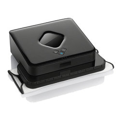 Frontgate - iRobot Braava 380T Mopping Robot - Cleans all hard-surface floors including tile, vinyl, hardwood, and laminate. Navigational system maps the area and returns Braava to where it started, powering down automatically. Cleans up to 1,000 square feet in a single cleaning cycle with dry cloth, or up to 350 square feet with wet cloth; can clean up to 2,000 square feet with multiple NorthStar Navigation Cubes. Whisper-quiet operation. Uses wall-following technology to clean right along walls, baseboards and edges. With a longer-lasting battery, the iRobot Braava 380 Floor Mopping Robot is able to clean larger or multiple rooms in a single cleaning cycle. The sophisticated unit dry- and damp-mops all hard-surface floors for you, picking up dirt and dust as it systematically covers every section of your floor. Cleaning cloths are easy to attach and remove with the removable magnetic multi-purpose cleaning pad. Charges in as little as four hours. . . . . . Uses either dry or damp disposable cleaning cloths or Braava's specially designed microfiber cloths; these microfiber cloths can be reused hundreds of times (2 Braava microfiber clothes included; additional ones sold separately). Cliff-detection sensors allows iRobot Braava to avoid stairs and other drop-offs. Requires 2 C batteries (included). Includes NiMH rechargeable battery, NorthStar Navigation Cube, one Turbo Charge Cradle, one microfiber dry mopping cloth, one microfiber damp mopping cloth, and one multi-purpose cleaning pad. One year manufacturer's warranty.