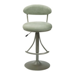 Hillsdale Furniture - Hillsdale Venus Swivel 24-30 Inch Barstool in Atmosphere - This barstool chair is designed with a fully padded and upholstered seat and back, which adds comfort to the design. The style is categorized as contemporary, although the chair has a futuristic appearance due to the gray coloration of the base and fabric. The base has a traditional pedestal stem to which there is a half circle of metal placed midway down for use as a footrest. The metal semi-circle is supported with two metal side bars flaring outward from underneath the seat. This chair comes with the ability to swivel from side to side and can be adjusted in height using the connected lever.