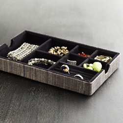 Divided Jewelry Tray - Made of water hyacinth, this luxe tray, with its velvet interior, is an elegant way to store your jewels. Use the divided spaces to organize rings, bracelets, necklaces, and other odds and ends.