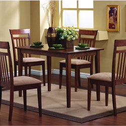 Coaster - Warm Walnut 5-piece Dining Set - This lovely dining table and chair set will be the perfect addition to your casual,contemporary home. The simply styled table has a smooth rectangular table top above sleek square tapered legs. The table has a smaller scale,perfect for smaller homes.