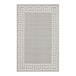 Greek Key Rug, Light Gray - This very chic wool Greek key rug in light gray will anchor any room. It's available in two sizes.