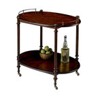 Butler Specialty - Butler Specialty Tea Server in Plantation Cherry Finish - Butler Specialty - Bar Carts - 1690024- This tea server is made from select solid woods and choice cherry veneers. It has a plantation cherry finish and cherry veneer top and lower shelf. This tea server also features antique brass finished gallery and casters that will enhance the decor in any home! Selected solid woods and choice cherry veneers. Cherry veneer top and lower shelf. Antique brass finished gallery and casters.