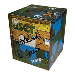 "Groovy Stuff - Graffiti ""Peace"" Side Table - Contemporary style. Reclaimed and distressed. Made from reclaimed barrel pieces. Random colors. 15 in. W x 15 in. D x 19 in. H (30 lbs.)Graffiti emblazons the surface of this colorful, versatile Moonbeam Side Table. Use it as a side table, accent piece, extra seating, or even group two together for an impromptu cocktail table--the possibilities are endless."