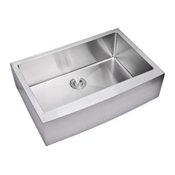 "Water Creation Inc. - 33"" x 22"" 15 mm Corner Radius Single Bowl Hand Made Apron Front Kitchen Sink - Water Creation's stainless steel sinks are the ultimate cook's sink. Made of highly durable stainless steel, Water Creation's stainless steel sinks won't stain, tarnish, or rust over time. They are also heat resistant and will not discolor from hot pans. Cleanliness is also a major plus as all of Water Creation's stainless steel sinks are nonporous, easy-to-clean, and resist bacteria. Water Creation has gone the extra mile to ensure satisfaction by adding heavy-duty sound deadening padding to the underside of all of their sinks. The result is a significant reduction in sound echoing that occurs with all non-padded stainless steel sinks. Add a touch of sophistication and modern flare to any kitchen with a Water Creation stainless steel sink."