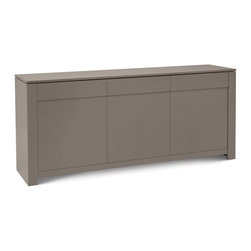 Domitalia - Bass-L Sideboard - Taupe Mat Lacquered - The sleek and sophisticated Bass-L Sideboard provides essential storage in high style. The matte taupe lacquered MDF frame and doors, unencumbered by bulky knobs or pulls, showcase the clean minimalist lines of this versatile piece. Three drawers and three doors conceal ample storage space.