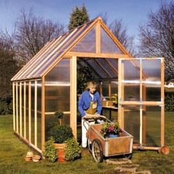 Sunshine - Sunshine Mt. Rainier 8 x 12 Foot Greenhouse Kit - MRY016 - Shop for Greenhouses from Hayneedle.com! Additional FeaturesDoor measures 78H x 28W inchesPeak height measures 10-feetComes with 12-feet of wood stagingStaging runs the length of the greenhouseStaging gives you versatility and more planting spaceIncludes a 12L x 12H foot shade coverCools your greenhouse up to 15 degreesReduces the amount of sunlight aiding in plant growthCan double as a windscreen in the colder monthsDoes not take long to assembleIncludes printed instructions and an assembly videoComes with a 5-year warrantyThe Sunshine Mt. Rainier 8 x 12 Foot Greenhouse Kit has everything you need to start growing your own organic produce and favorite flowers. With a beautiful clear natural and sturdy redwood frame and twin polycarbonate panels designed to protect your plants this greenhouse looks fabulous as well. The large Dutch doors allows you to keep the door open without worrying about little critters getting in and the doors and base are both made with recycled plastic. The four vents with automatic openers allows for plenty of air ventilation helping to keep your plants healthy. A 12-foot staging area is included which can double as a work station and gives you more room for growing plants. A shade cover is also included so you have greater control over the climate of your greenhouse and it can also double as a wind screen in colder months. Measuring 12L x 8W x 10H feet this greenhouse is large enough for all your growing needs. With preassembled panels this greenhouse does not take long to assemble. Printed instructions as well as an assembly video are included.
