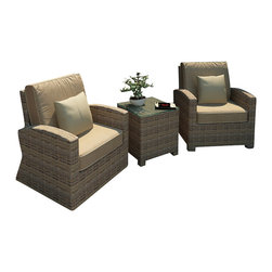 Forever Patio - Cypress 3 Piece Modern Patio Chat Set, Spectrum Mushroom Cushions - The Forever Patio Cypress 3 Piece Outdoor Rattan Chat Set with Blue Sunbrella cushions (SKU FP-CYP-3CH-HR-SM) provides a stylish setting for time out on your patio. The set seats 2 adults comfortably, and includes a club chair, a swivel chair and an end table with a glass top. This set features Heather resin wicker with a half round design that creates a complex and luxurious look. Each strand of this outdoor wicker is made from High-Density Polyethylene (HDPE) and is infused with its natural color and UV-inhibitors that prevent damage ordinarily caused by sunlight, surpassing the quality of natural rattan. The set is supported by thick-gauged, powder-coated aluminum frames that make it extremely durable. Also included are fade- and mildew-resistant Sunbrella cushions. The sweeping armrests and high-quality wicker will make this outdoor chat set your go-to spot for outdoor relaxation.