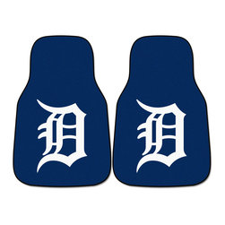 Fanmats - Fanmats Detroit Tigers 2-piece Carpeted Car Mats - Detroit Tigers fans will love these Fanmats carpeted car mats that feature the Tigers logo in large letters. Use them in your car or truck to show your team spirit. Made of 100 percent nylon, they measure 27 inches high x 18 inches wide.