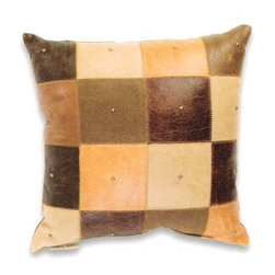 """Canaan - Prairie Leather Patchwork Pattern Design with Nail Heads 16"""" x 16"""" Throw Pillow - Prairie leather patchwork pattern design with nail heads 16"""" x 16"""" throw pillow. Measures 16"""" x 16"""" made with a blown in foam. These are custom made in the U.S.A and take 4-6 weeks lead time for production."""