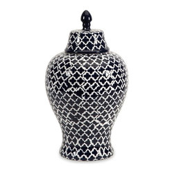 Blue and White Quatrefoil Large Urn - *The blue and white quatrefoil patterned large Layla urn adds a chic vibe to any room.