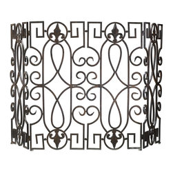Cyan Design - Cyan Design Fireplace Wrought Iron Fire Screen X-96700 - This Cyan Design fireplace screen features a beautiful traditional pattern with various European influences that can be clearly seen within the details. The curves and keys of the design are made from wrought iron and finished in a stylish Rustic Iron hue.