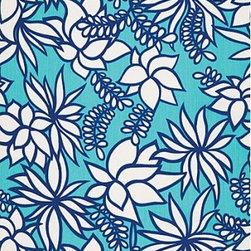 Schumacher - Kalaheo Print Fabric, Aqua - 2 Yard Minimum Order