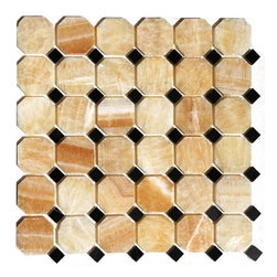 Premier Worldwide - Honey Onyx Polished Octagon 12X12 Interlocking Mosaic - Yellow Onyx Octagon with Black Marble Dots on a 12x12 sheets with Mesh backing for easy installation. This dynamic yellow, brown and cream tiles are exquisite and unique and ideal for walls applications including kitchen backsplashes and bathroom surrounds.   Also known as Honey Onyx Octagon