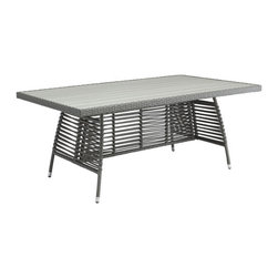 ZUO - Sandbanks Dining Table - The wide, rectangular weave and simple cushion of the Sandbanks chair are a nice foil to the slimmer lines of the matching table. Its aluminum frame is water resistant for outdoor use. Sold separately.