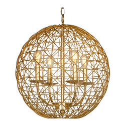 "Worlds Away - Worlds Away Verona  18"" Gold Leaf Pendant Light - Small Gold Leaf 18"" Wire Ball With Four Light Cluster"