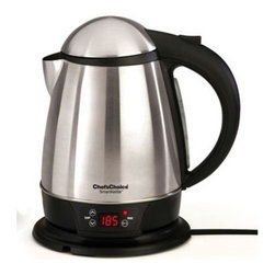 Chef's Choice - Chef's Choice Cordless Smart Electric Kettle 1.75 qt. - Boiling water in mere minutes, this stainless steel Chef's Choice kettle has a generous 1.75 qt. capacity with an exterior water gauge for easy measuring. A powerful 1500W heating element is hidden beneath the stainless steel floor so it's never in contact with the water, eliminating possible buildup of mineral deposits. Electronic controls provide water precisely at the desired temperature (+/- 2 F accuracy) Remembers last temperature setting Concealed element is never in contact with the water, so there is no build-up of objectionable mineral deposits on it High quality brushed stainless steel Large 1 3/4 qt. capacity Heating element hidden beneath floor-never corrodes. Automatic shutoff and boil-dry protection Convenient water gauge Powerful 1500 watts -rea full boil quickly Cool touch bottom Cordless: swivels and lifts off power base for convenient Pouring 1-year warranty