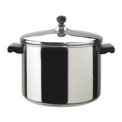 """Farberware - Farberware Classic Series Stainless Steel 8 qt. Stock Pot with Lid Multicolor - - Shop for Stock Pots & Slow Cookers from Hayneedle.com! Whether you are an expert chef or a cooking novice the Farberware 50006 Classic Series Stainless Steel 8 qt. Stock Pot with Lid will provide you with years of use. Great for soups stews pastas or chili this 8-quart capacity pan is finished in a mirror polish with a tight fitting lid and is made of heavy 18/10 stainless steel. The designation 18/10 means this pan features heavy duty base metals that help in avoiding corrosion and pitting. The pan has an aluminum core in its base to spread heat quickly and evenly. The core is completely clad in stainless steel so like the rest of the pan the bottom resists corrosion and discoloring and cleans up easily. Thick rolled rims add durability and make it possible to pour from the pan without dripping. Show off your culinary skills with this well-made stock pot.About FarberwareIn 1900 a tinsmith named S.W. Farber set up a shop in Manhattan where he started a small business making bowls and vases out of hand-pounded sheets of copper and brass. Since that time the Farberware company has grown exponentially; in 1930 they introduced their first line of percolators adding small appliances to the list of items for which they were already known. In today's market Farberware is valued for its product innovation. Over the years they have been responsible for such designs as the electric fry pan with removable probe for easy cleaning and the """"Open Hearth"""" smokeless broiler. Quality classic styling and years of tradition go into each Farberware product. With Farberware you know you're not just buying a piece of cookware; you're buying a legacy of great value."""