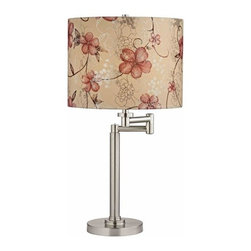 Design Classics Lighting - Pauz Swing Arm Table Lamp with Floral Patterned Lamp Shade - 1902-09 SH9512 - Contemporary / modern satin nickel 1-light table lamp. Swing arm has a maximum 9-inch extension. Features a Prairie Rose drum shade. Takes (1) 100-watt incandescent A19 bulb(s). Bulb(s) sold separately. UL listed. Dry location rated.