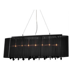 Bromi Design - Bromi Design Jasmine 5-Light Crystal Pendant Black - Add sparkle and dazzle to your home with the 5-light Crystal Pendant. This pendant will give a contemporary feel to your interior decor with its stylish black fabric shade and black crystals. This piece is so versatile that you can hang it almost anywhere from your living room to the dining room.
