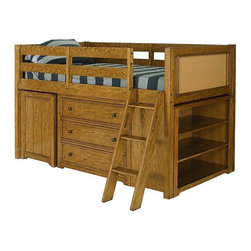 Lea Industries - Lea Americana Twin Loft Bed in White Oak Finish - Maximize the space in small bedrooms and loft apartments with this exquisitely designed bunk bed set from Lea Furniture. Complete with bookcases, drawers, two beds, ladder and guard rails, its practically an apartment in itself! Kids will enjoy climbing into bed at night in its warm, golden glow. Youll love the extra storage for clothes, books toys and childrens clutter!