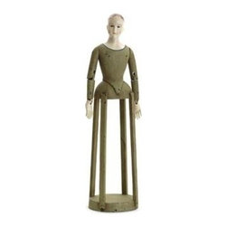 """Go Home Ltd - Sainte Celeste by Go Home - This artsy figurine is reminiscent of a doll dress form from ages ago. The Sainte Celeste is made of hand painted wood with a simple pensive expression that reads pleasant contentment. Basic design structure in a large two foot frame. (GH) 28"""" high x 7"""" round"""