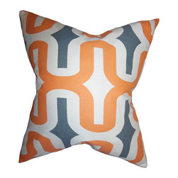 The Pillow Collection - Jaslene Orange 18 x 18 Geometric Throw Pillow - - Pillows have hidden zippers for easy removal and cleaning  - Reversible pillow with same fabric on both sides  - Comes standard with a 5/95 feather blend pillow insert  - All four sides have a clean knife-edge finish  - Pillow insert is 19 x 19 to ensure a tight and generous fit  - Cover and insert made in the USA  - Spot clean and Dry cleaning recommended  - Fill Material: 5/95 down feather blend The Pillow Collection - P18-PP-EMRACE-APACHE-MACON-C10